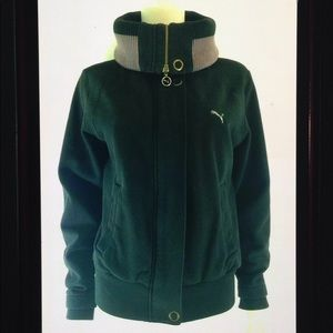 Puma Convertible Collar Logo Sweatshirt Jacket